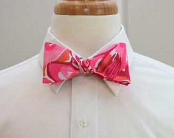 Men's Bow Tie, hot pink Lilly Mango Salsa, wedding bow tie, prom bow tie, groom bow tie, tropical bow tie, groomsmen gift, Carolina Cup tie