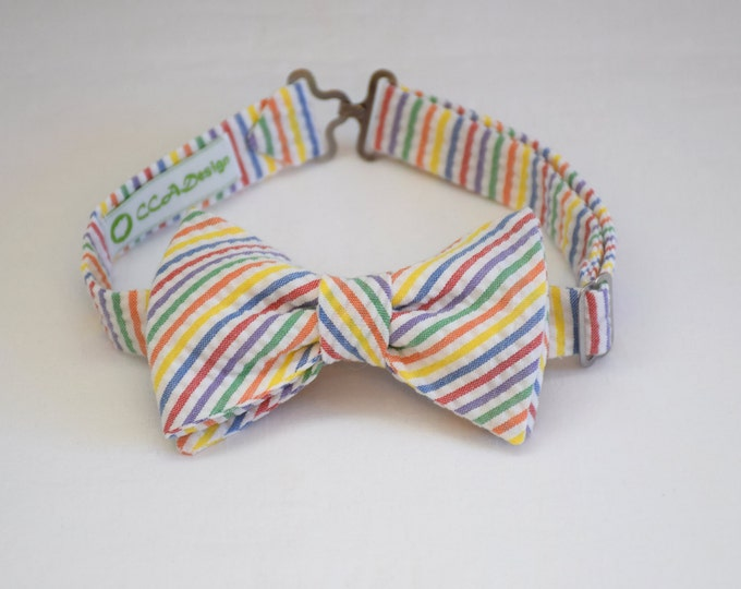 Boy's pre-tied Bow Tie in multi color seersucker stripes, father/son matching ties, wedding accessory, toddler bow tie, ring bearer bow tie