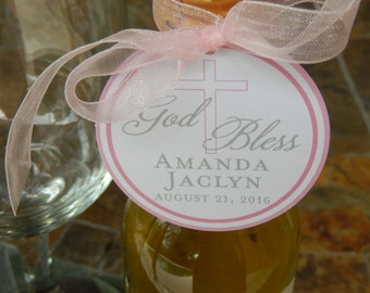 "God Bless Custom 2"" Baptism or First Communion Favor Tags - for Mini Wine or Champagne Bottles - Cookie Favors - Party Favors - (40) Tags"