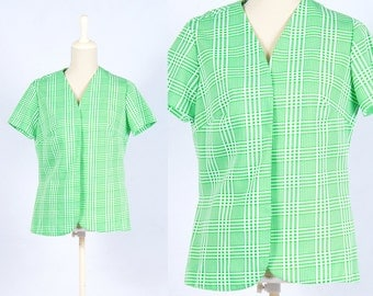 Vintage 1970s Green White Green Grid Plaid Check Pattern Short Sleeve Cardigan * Disco Retro Preppy * Size Medium Large * FREE SHIPPING