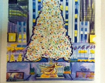 The View | Christmas Tree at Rockefeller Center | New York City | Christmastime winter ice skating rink | watercolor print art