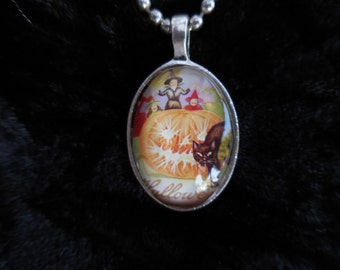 Witch with Pumkin and Black Cat Halloween Glass Oval Pendant Necklace with Silver Ball Chain
