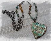 Embrace You Crazy  Fun Ceramic Pendant Essential Oil Necklace