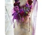 RESERVED Unique Wonderful Necklace With Velvet Roses Silks ANTOINETTE'S ROSES Dep Forest Fairy Tattered