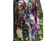 RESERVED Wonderful  Art To Wear With Lots Of Silk Velvet, Roses Black Lace  GIRL with GREEN GRAPEs Dep Forest Velvet Dots Boho Tattered