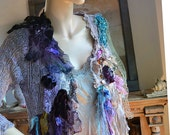 RESERVED for Margie Unique Pale Lavender With Metalic Thread Crochet Jacket LAVENDER and TURQUOISE Boho Antoinette Tattered Gipsy