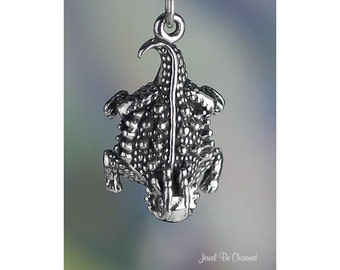 Sterling Silver Horned Lizard or Toad Charm State Reptile Solid .925