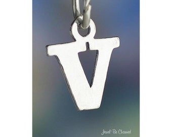 Sterling Silver Small Letter V Charm Initial Capital Letters Solid 925