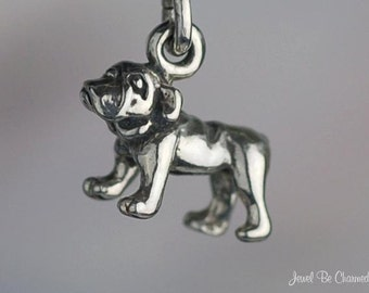 Miniature Sterling Silver Bulldog Charm Very Small Tiny 3D Solid .925