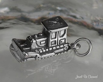Bulldozer Charm Sterling Silver Construction Worker Vehicle Solid .925