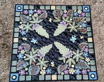 """16"""" Square, garden mosaic tile table. Handmade ceramic  lupine flower mosaic art tiles."""