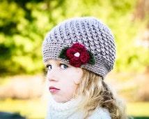 Crochet hat pattern, Crochet Pattern, The Winter Blossom Hat in Six Sizes, Crochet Hat Patterns, Girls Crochet Pattern, DIY Hat Pattern,