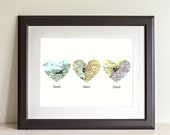 CUSTOM Three Heart Map Art Print. Print Only. You Select Locations Worldwide And Personaized Text. 3 Heart Map Print. Gifts for Mom And Dad.