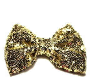 """Gold Sequin Bow - Large 4 3/4"""" - DIY Sequin Bow Headband- Wholesale Sequin Bow- Set of 1"""