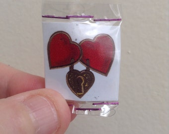 Love Pocket Talisman - Pocket Amulet - Mexican Wallet Saint - Wallet Amulet - Alter - Mixed Media Assemblage Collage - Locked Hearts