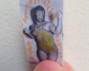 La Dama Enmascarada Luchadora - Lucha Libre Talisman - Pocket Amulet - Mexican Wallet Saint - Wallet Amulet - Alter - Shrine - Yellow