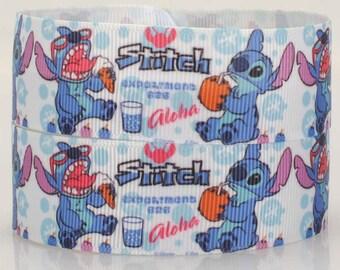 "5 yards 22 mm ( 7/8"" ) Grosgrain Ribbon Disney Lilo Stitch Printed Ribbon Hair bow ribbon Sewing Ribbon Scrapbook 0069"