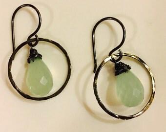 Seafoam colored chalcedony on oxidized sterling silver hoop earrings