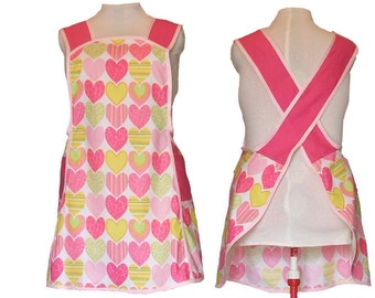 Plus size Apron, No Tie Apron - Pink and Yellow Hearts Apron - Made to Order Sizes XL, 2X, 3X, 4X, 5X
