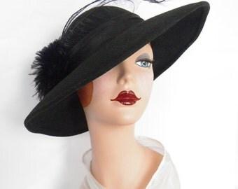 Vintage black hat, 1960s tilt Sylvia, black feathers, wide brim Audrey