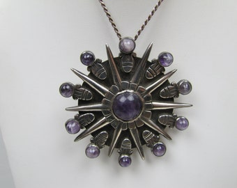 Spratling Sterling Silver Amethyst Pendant Necklace Convertible Brooch. Precolumbian Aztec Sunburst Disk. 1940s Taxco Mexican Jewelry Mexico