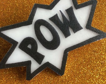POW comic burst brooch pin