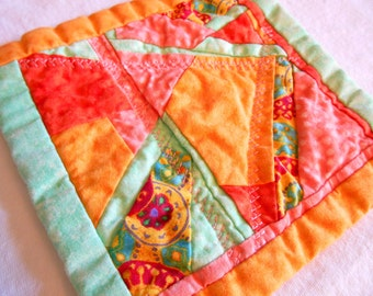 Bright Summer Colors quilted coaster hot pad