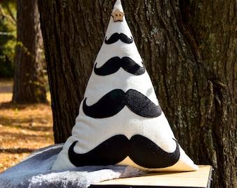 Mustache Christmas Tree Pillow - Organic Cotton/Hemp