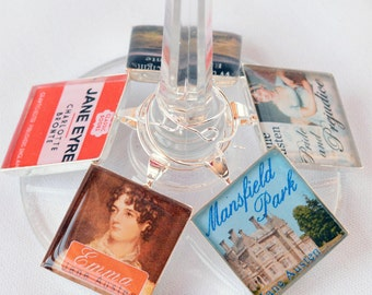 Book Club Wine Charm Set, Classic Book Cover Drink Markers, Jane Austen Wine Charms, Book Club Party Favor, Hostess Gift, Book Lovers Gift