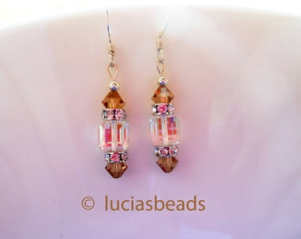 BEAUTIFUL Swarovski Crystal Earrings in Light Colorado and Clear Crystal