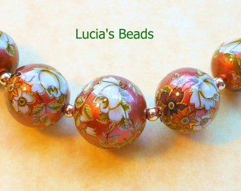 NEW GORGEOUS Antique White Rose on Copper Graduated Set Japanese Tensha Beads