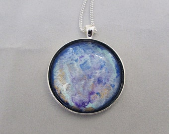 Hand painted glass cabochon, abstract blue swirls pendant, necklace, choice of chains