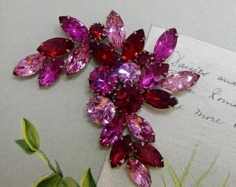 JULIANA Two Tone Pink & Red Rhinestone Leaf and Flowe Brooch