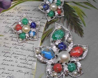 Colorful Sarah Coventry Maple Leaf Cabochon Brooch & Earrings Set 'FANTASY'   MDQ6