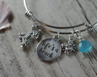Life's A Beach Bracelet - Adjustable Bangle Bracelet - Beach Lover