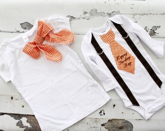 "Matching Brother & Sister Thanksgiving Outfits.  Orange Gingham Girl Bow Tee and Gingham ""Happy Turkey Day"" Tie Bodysuit with Suspenders Set"