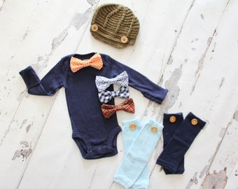 Christmas Bow Tie Bodysuit, Leg Warmers, Knit Hat. Newborn Baby Boy Coming Home Outfit Set, Holiday, & 1st Birthday Outfit Gift