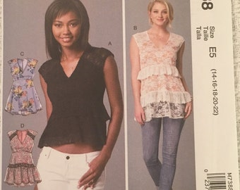McCall's Sewing Pattern M7388 Misses' V-Neck, Empire-Waist Tops New UNCUT