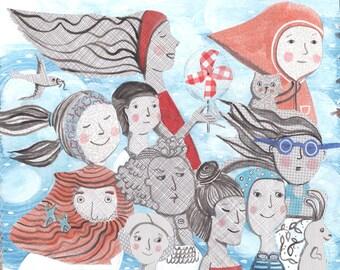 Breezy Parade - Artwork by Christina Rowe - 8x10  Art Print - Mangoseed
