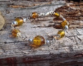 Amber Silver Bracelet Handmade with Antique Yellow Glass Beads, Yellow Bracelet, Amber Bracelet, Gifts for her, Christmas Gifts, Handmade