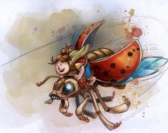 Gnome Girl Beetle Ride Digital Print
