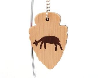 Petroglyph Deer Key Chain, Arrowhead Southwestern Style Keychain, Cave Drawing Key Fob, Wood Scroll Saw Key Chain, Walnut