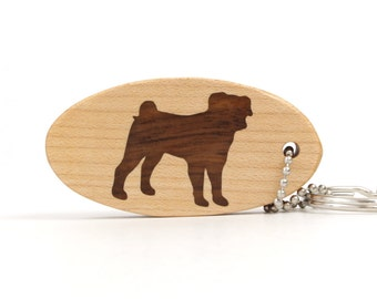 Pug Key Chain Wood Dog Breed Key Chain Wooden Pet Accessories Pug Key Fob Dog Key Ring Dutch Mastiff Walnut