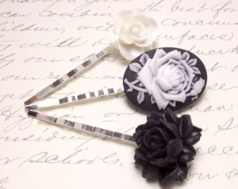Black Victorian Cameo Hair Pins. Rose Flower Hair Accessory. Black and White Floral Bobby Pins.