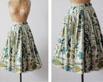 1950's Garden Party novelty skirt / 50's bark cloth Botanical print circle skirt