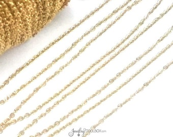 Gold Stainless Steel Chain, Bulk Jewelry Making Chain, Fine Chain, Oval Links, Non Tarnish, 2x1.5mm Links, Lot Size 2 to 20 feet, #1902 G
