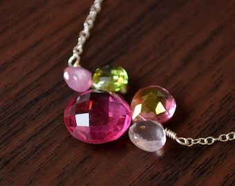 Green and Pink Gemstone Necklace, Fuchsia Quartz, Lime Green Peridot, Pink Topaz, Rose Quartz, Sterling Silver Jewelry, Free Shipping