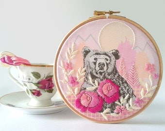 DIY Wall Art. Embroidery Kit. Hoop Art. Bear and mountains. Flower pattern. DIY Craft Kit.Embroidered art.Home decor.Gift for her. Rose pink