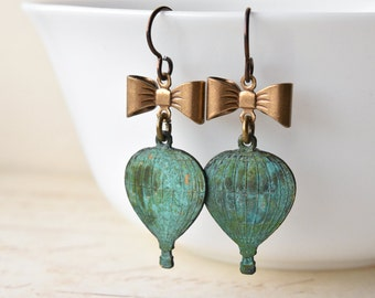 Hot Air Balloon Earrings, Hypoallergenic Niobium Earrings, Brass Patina, Balloon Jewellery, Steampunk Earrings, UK Seller