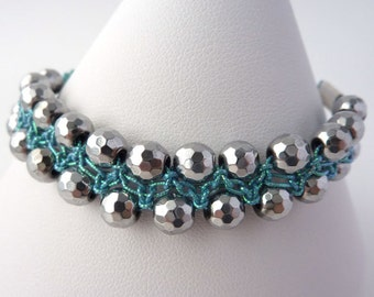 Macrame Bracelet with Silver Haematite and Turquoise Metallic Thread